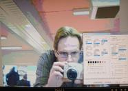Manuel Bilderbeek - organizer of the fair - checking out Louthrax' realtime webcam to MIF converter