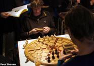Vistors playing a game