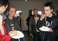 Team Bomba enjoying the cake