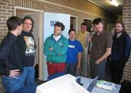 Alex Wulms (Xelasoft), Grauw, Yeti, Wynke (Yady) who made the penguin cake, two visitors, AuroraMSX, Maarten ter Huurne (mth)
