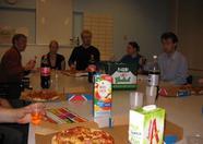 Pizza time! Richard Atkinson (rga24) on the right