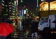 Akihabara at night in the rain.
