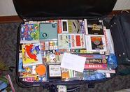 A suitcase stuffed with MSX goods.