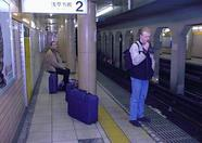 Waiting for the subway in the direction of Asakusa.
