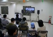 No worries if the lecture hall came to crowded. A big screen TV in the main hall showed it all.