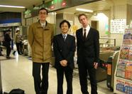 Bernard , Mr. Niitani and Sander at a Tokyo subway station
