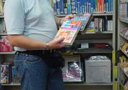 Remco, our reporter holding the real FM-Pac in the Trader2 shop