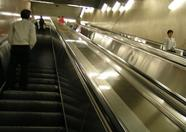 As it still was very early in the morning, there were little people in the subway station. A rare sight, escalators this empty.