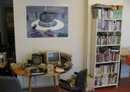 MSX goodies on the table, MSX software on display, MSX artwork on the wall...