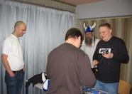 David getting acquainted with the Finnish guys (Lagers, David, Ahti, NYYRIKKI).
