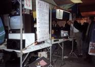 The TV screen on the corner of the booth showed the MSX Futurist info board. Programmed by Bas van Ritbergen