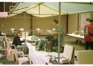 Zandvoort 1996 - Setting up the booths before the visitors come in