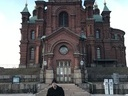 Mika, the organizer in front of a Russian Church in Helsinki