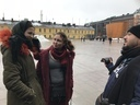 Homeless girls talking with Abdullah in Helsinki
